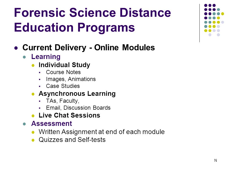 Forensic Science Distance Education Programs Current Delivery - Online Modules Learning Individual Study  Course Notes  Images, Animations  Case Studies Asynchronous Learning  TAs, Faculty,  Email, Discussion Boards Live Chat Sessions Assessment Written Assignment at end of each module Quizzes and Self-tests N