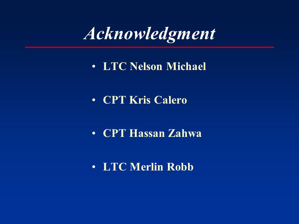 Acknowledgment LTC Nelson Michael CPT Kris Calero CPT Hassan Zahwa LTC Merlin Robb