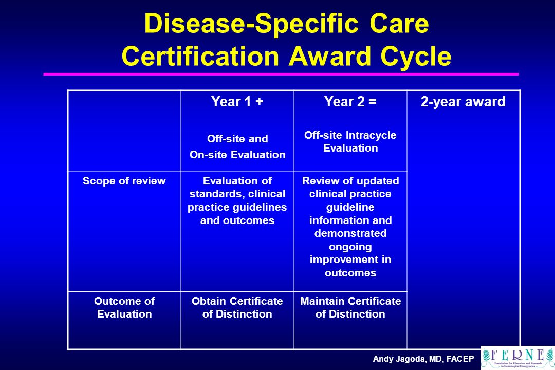 Andy Jagoda, MD, FACEP Disease-Specific Care Certification Award Cycle Year 1 + Off-site and On-site Evaluation Year 2 = Off-site Intracycle Evaluation 2-year award Scope of reviewEvaluation of standards, clinical practice guidelines and outcomes Review of updated clinical practice guideline information and demonstrated ongoing improvement in outcomes Outcome of Evaluation Obtain Certificate of Distinction Maintain Certificate of Distinction