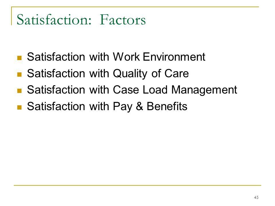 45 Satisfaction: Factors Satisfaction with Work Environment Satisfaction with Quality of Care Satisfaction with Case Load Management Satisfaction with