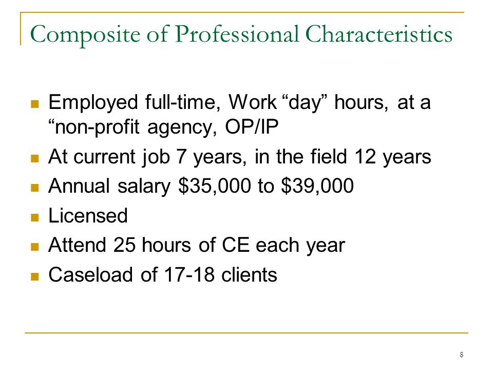 "8 Composite of Professional Characteristics Employed full-time, Work ""day"" hours, at a ""non-profit agency, OP/IP At current job 7 years, in the field"