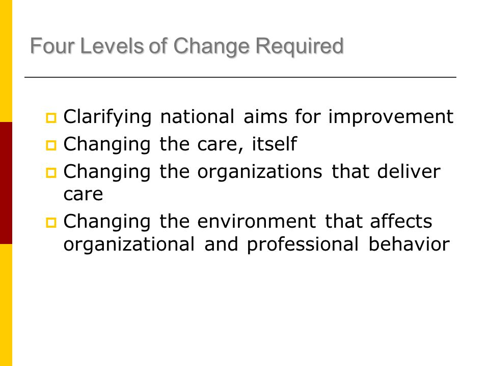 Four Levels of Change Required  Clarifying national aims for improvement  Changing the care, itself  Changing the organizations that deliver care  Changing the environment that affects organizational and professional behavior