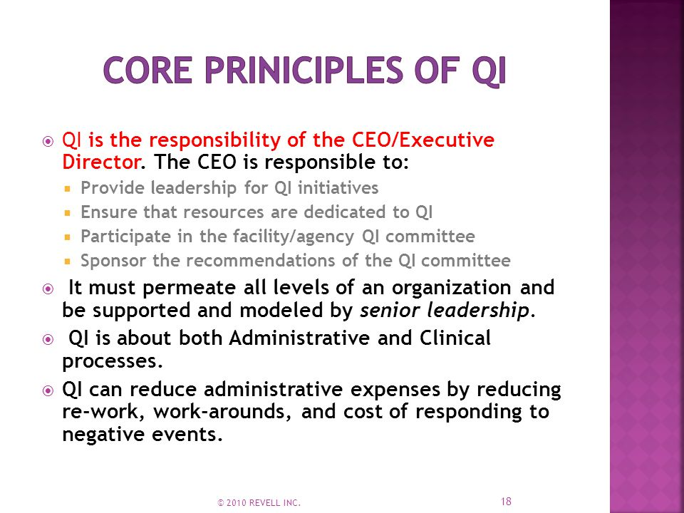  QI is the responsibility of the CEO/Executive Director.