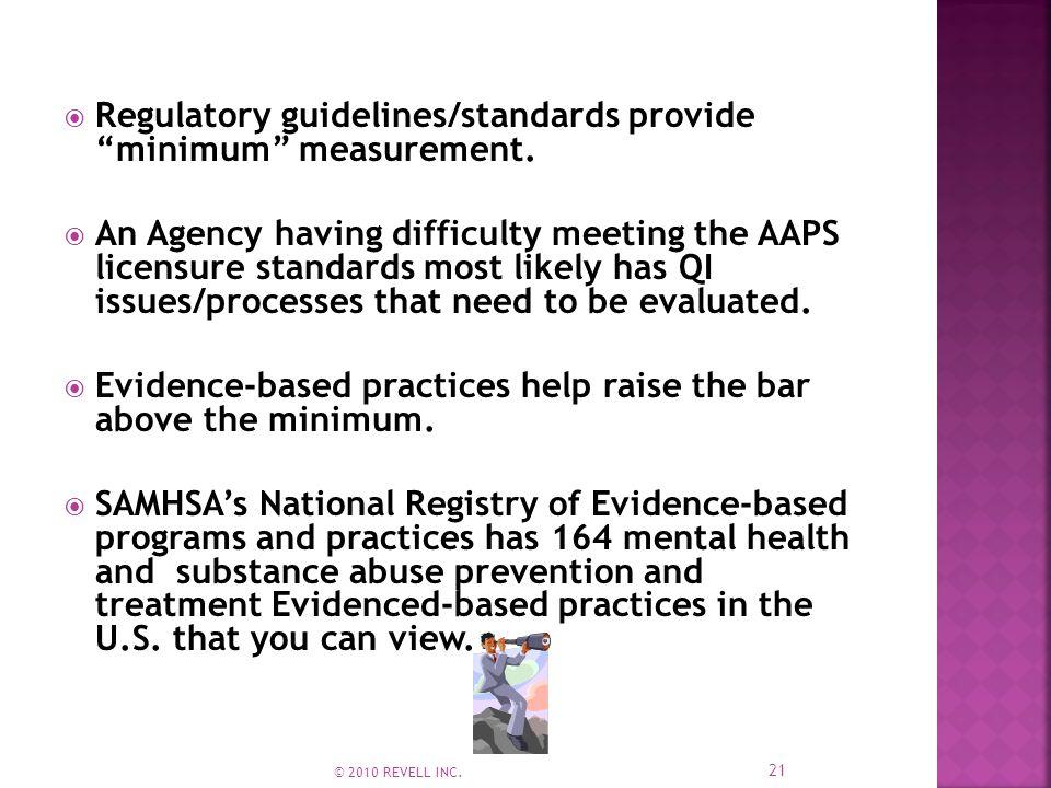  Regulatory guidelines/standards provide minimum measurement.