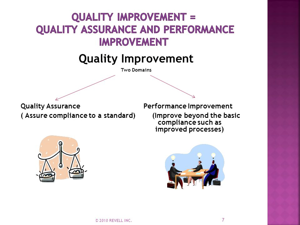 Quality Improvement Two Domains Quality Assurance Performance Improvement ( Assure compliance to a standard) (Improve beyond the basic compliance such as improved processes) 7 © 2010 REVELL INC.