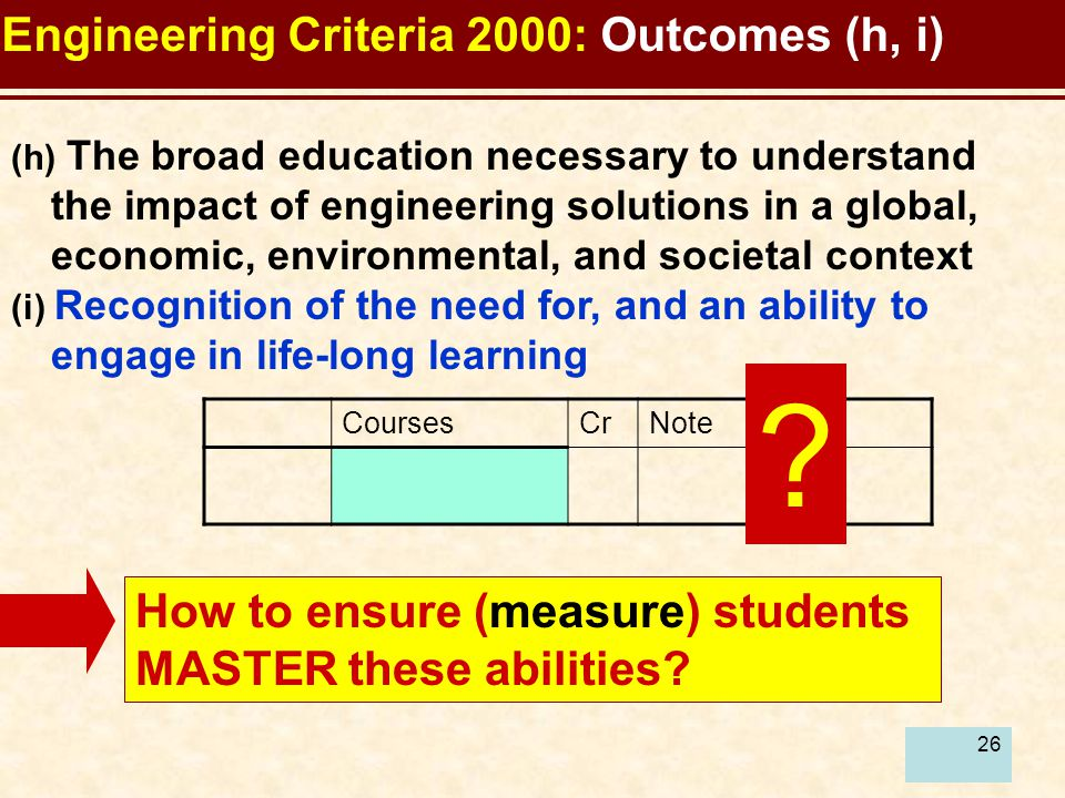 26 (h) The broad education necessary to understand the impact of engineering solutions in a global, economic, environmental, and societal context (i) Recognition of the need for, and an ability to engage in life-long learning Engineering Criteria 2000: Outcomes (h, i) How to ensure (measure) students MASTER these abilities.