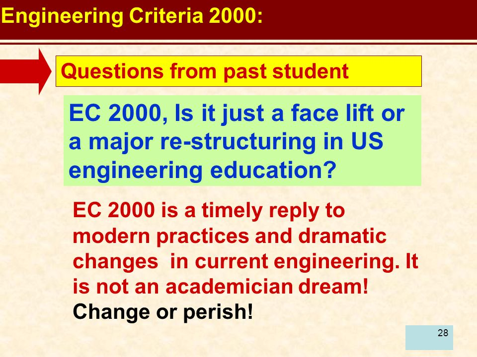 28 Engineering Criteria 2000: Questions from past student EC 2000, Is it just a face lift or a major re-structuring in US engineering education.