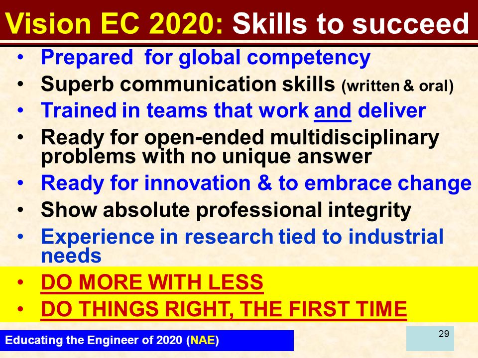 29 Vision EC 2020: Skills to succeed Educating the Engineer of 2020 (NAE) Prepared for global competency Superb communication skills (written & oral)
