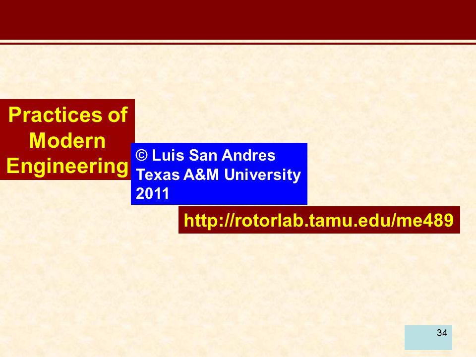 34 Practices of Modern Engineering © Luis San Andres Texas A&M University 2011 http://rotorlab.tamu.edu/me489