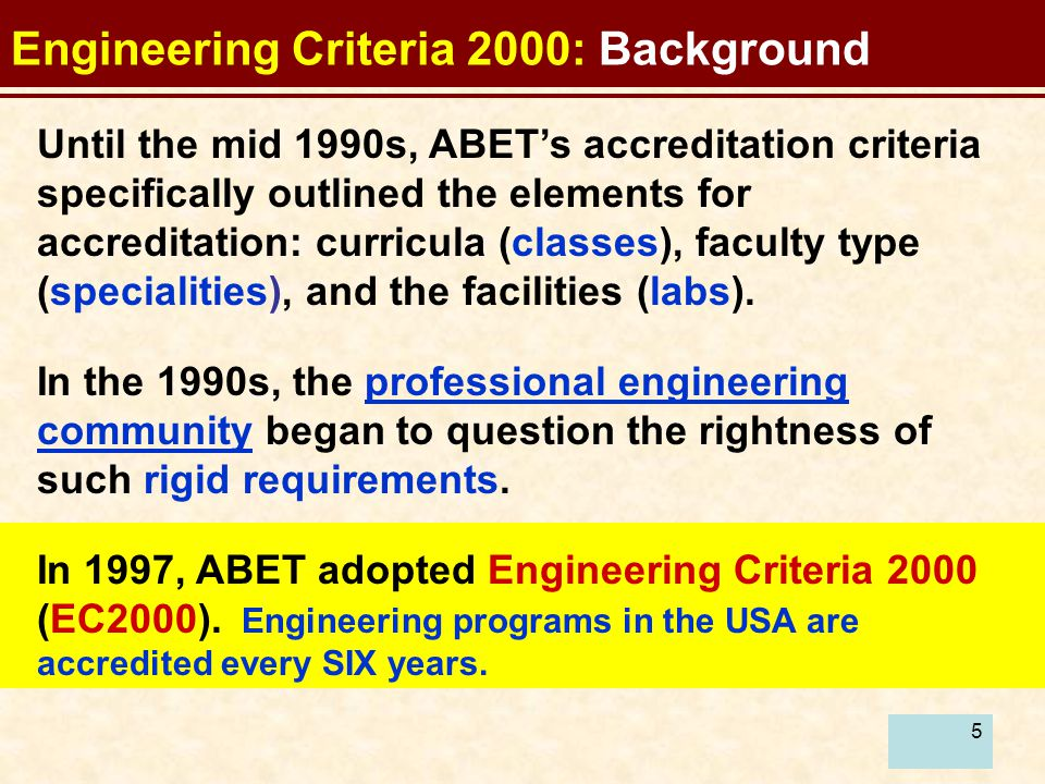 5 Until the mid 1990s, ABET's accreditation criteria specifically outlined the elements for accreditation: curricula (classes), faculty type (specialities), and the facilities (labs).