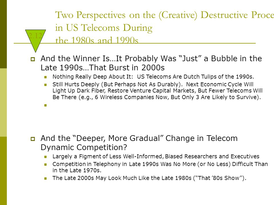 Two Perspectives on the (Creative) Destructive Processes in US Telecoms During the 1980s and 1990s  And the Winner Is…It Probably Was Just a Bubble in the Late 1990s…That Burst in 2000s Nothing Really Deep About It: US Telecoms Are Dutch Tulips of the 1990s.