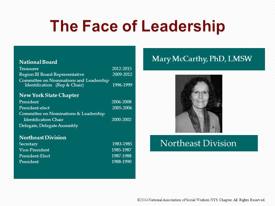 Northeast Division ©2014 National Association of Social Workers NYS Chapter. All Rights Reserved. Mary McCarthy, PhD, LMSW National Board Treasurer 20
