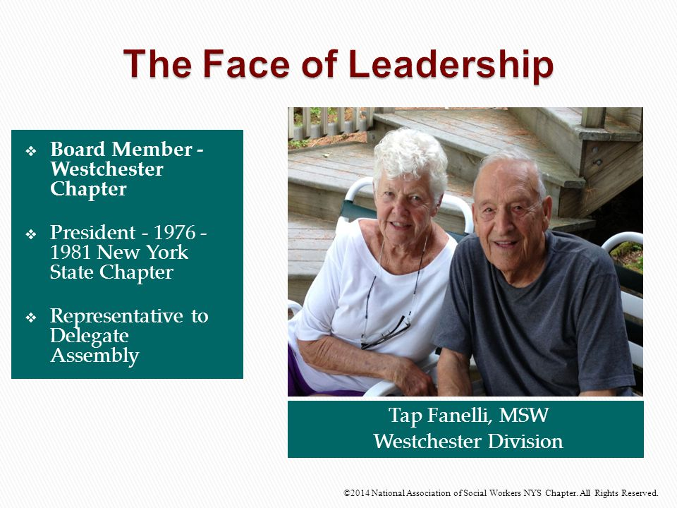  Board Member - Westchester Chapter  President - 1976 - 1981 New York State Chapter  Representative to Delegate Assembly Tap Fanelli, MSW Westchest