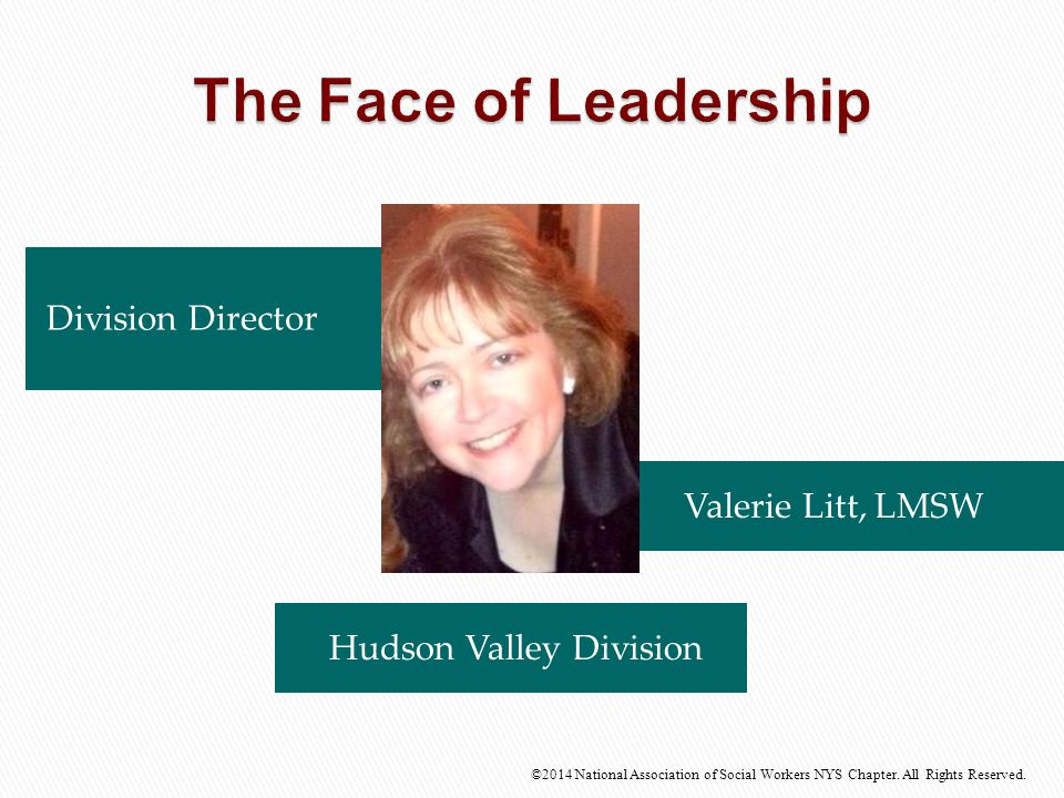 Division Director Valerie Litt, LMSW ©2014 National Association of Social Workers NYS Chapter. All Rights Reserved. Hudson Valley Division