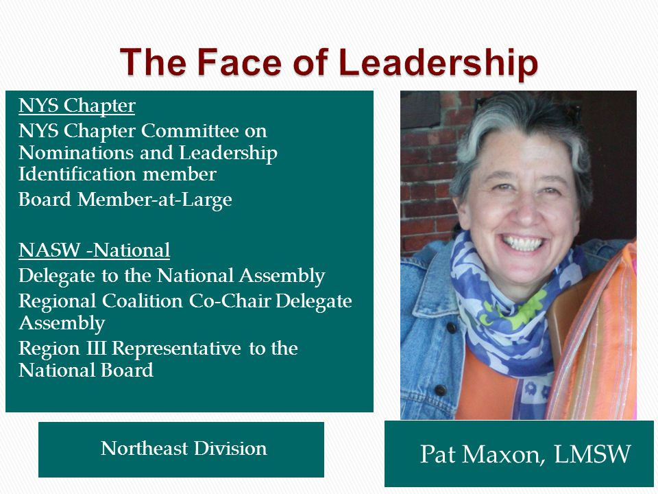 Pat Maxon, LMSW Northeast Division NYS Chapter NYS Chapter Committee on Nominations and Leadership Identification member Board Member-at-Large NASW -N