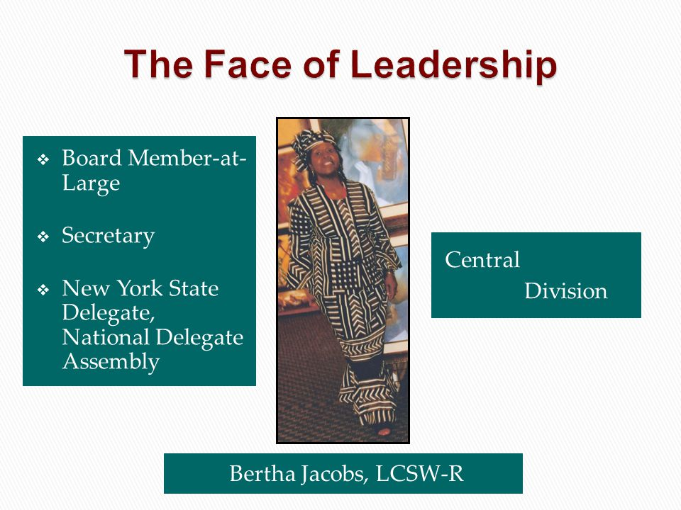  Board Member-at- Large  Secretary  New York State Delegate, National Delegate Assembly Central Division Bertha Jacobs, LCSW-R