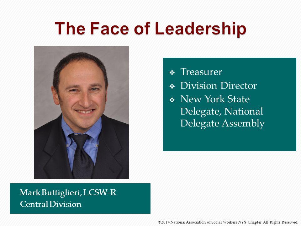  Treasurer  Division Director  New York State Delegate, National Delegate Assembly Mark Buttiglieri, LCSW-R Central Division ©2014 National Associa