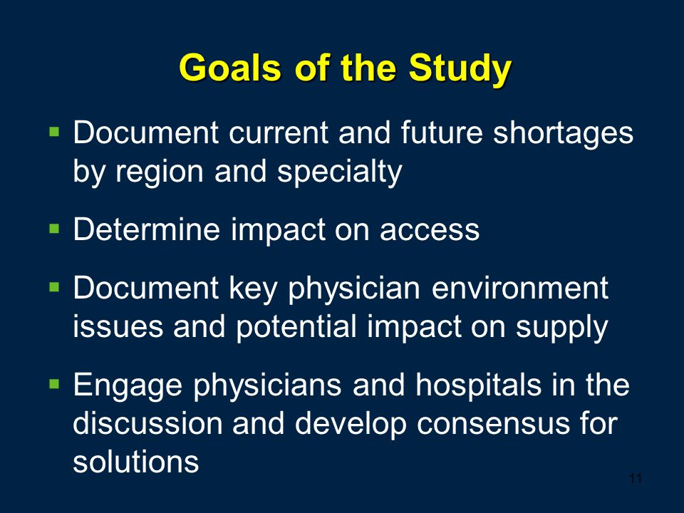 11 Goals of the Study  Document current and future shortages by region and specialty  Determine impact on access  Document key physician environmen