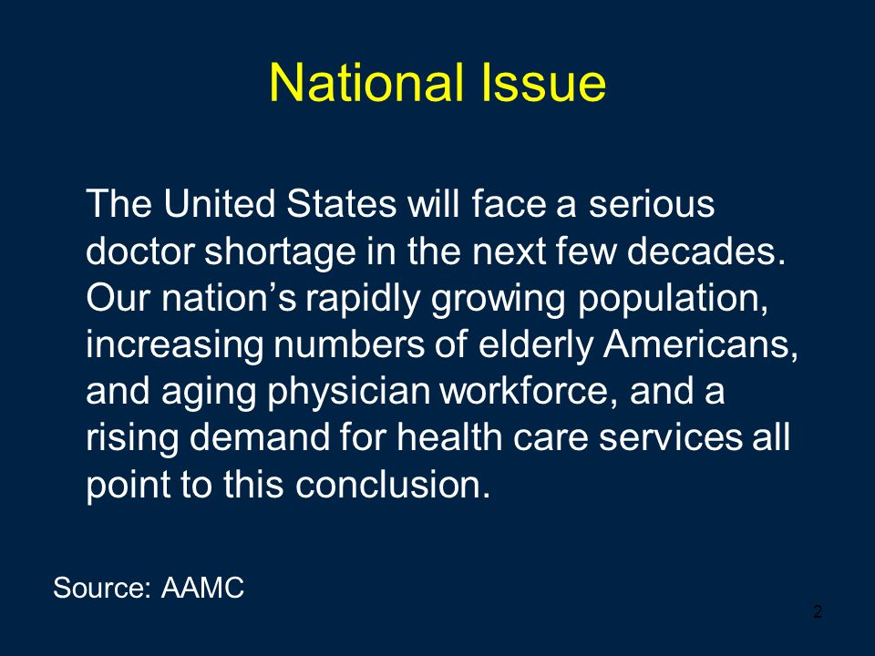 2 National Issue The United States will face a serious doctor shortage in the next few decades. Our nation's rapidly growing population, increasing nu