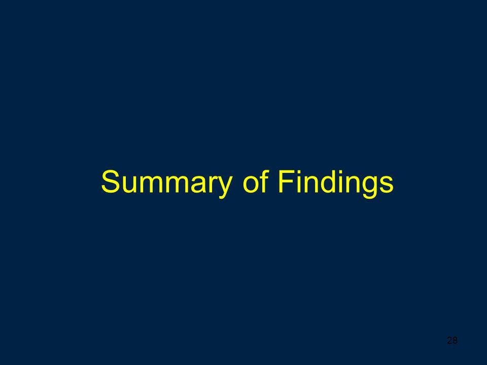 28 Summary of Findings
