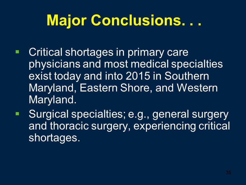 35 Major Conclusions...  Critical shortages in primary care physicians and most medical specialties exist today and into 2015 in Southern Maryland, E