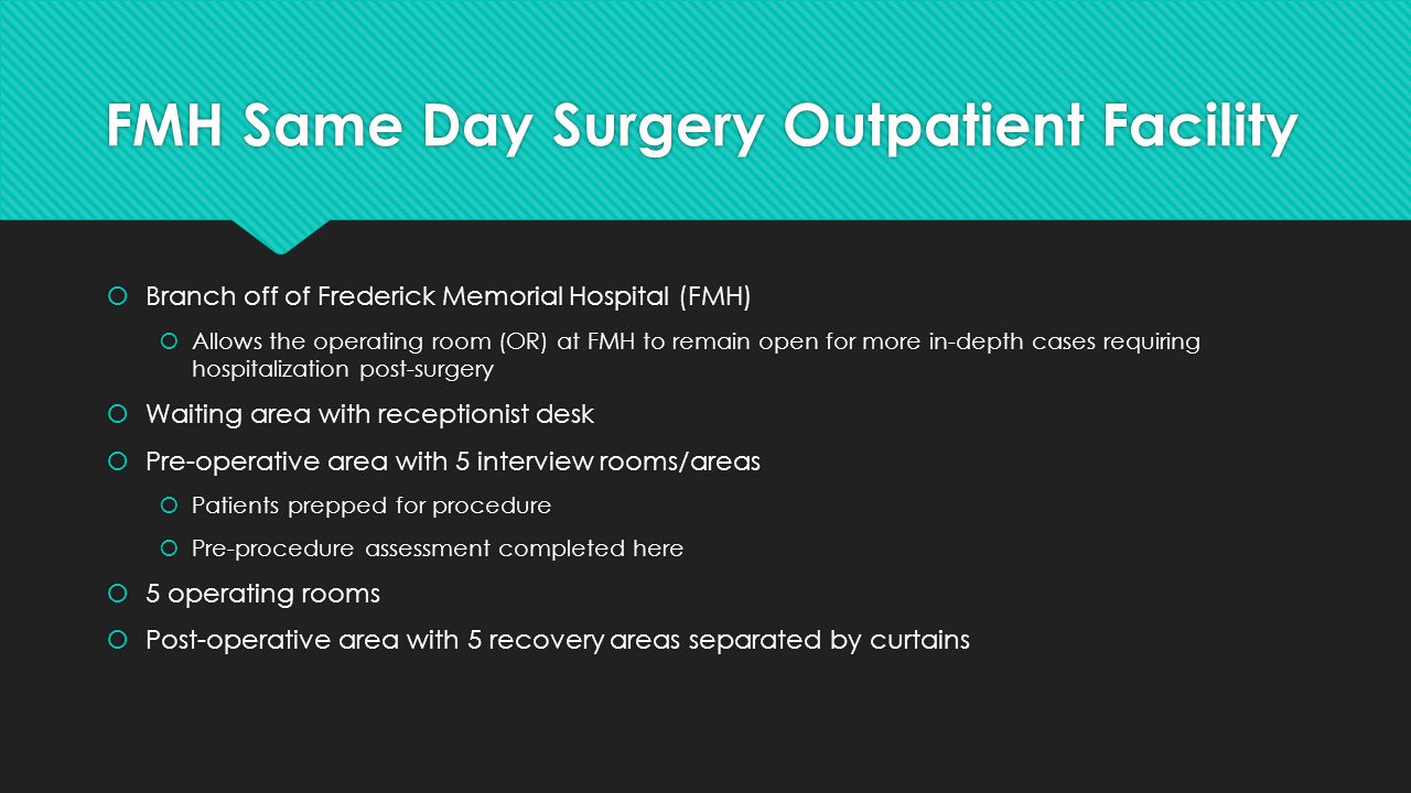 FMH Same Day Surgery Outpatient Facility  Monday – Friday  0800-1700  Staffing:  3 pre-operative Registered Nurses (RNs)  5 intra-operative RNs  3 post-operative RNs  5 surgical techs  5 anesthesiologists  Physicians contract with facility to operate; schedule cases based on their schedules  Monday – Friday  0800-1700  Staffing:  3 pre-operative Registered Nurses (RNs)  5 intra-operative RNs  3 post-operative RNs  5 surgical techs  5 anesthesiologists  Physicians contract with facility to operate; schedule cases based on their schedules  2 receptionists  Facility director (including financial aspect)  Director of patient care services (oversees staff directly) - me  2 environmental services employees  All cases are planned, thus staffing day- to-day depends on the number of cases scheduled
