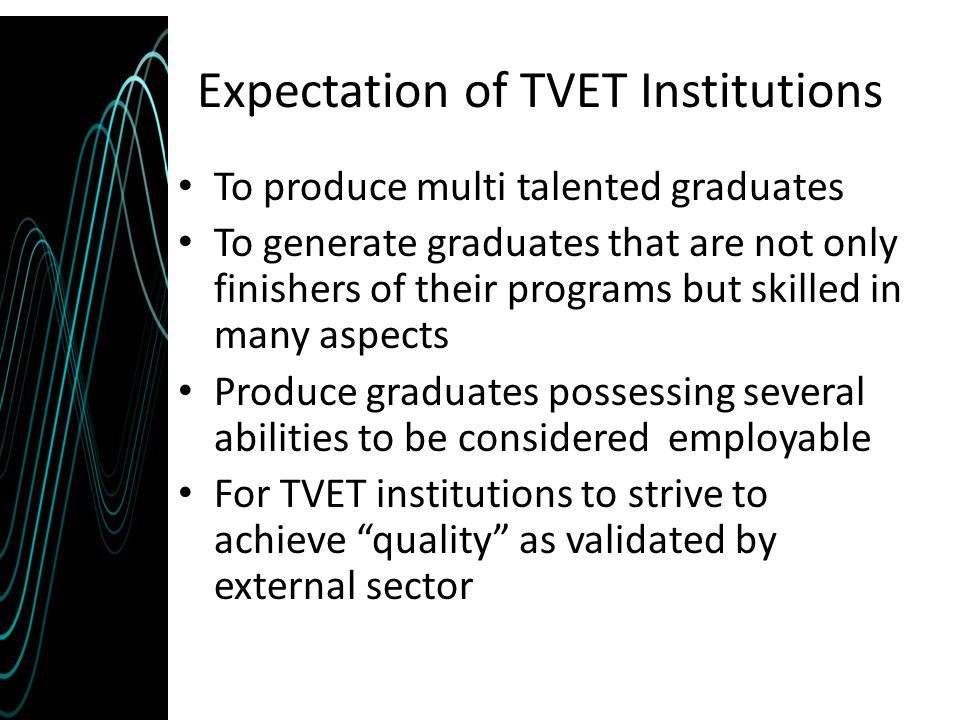 Expectation of TVET Institutions To produce multi talented graduates To generate graduates that are not only finishers of their programs but skilled i