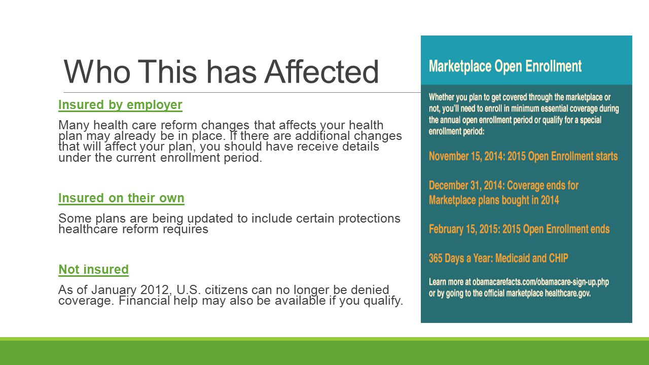 Affordable Care Act (ACA) cont.