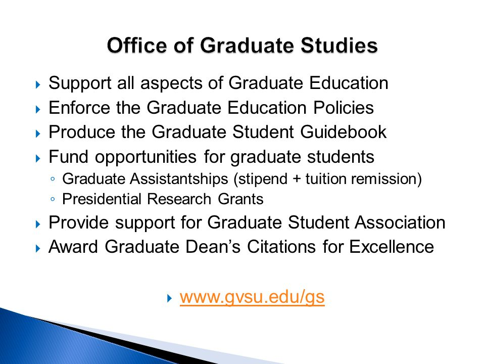  Support all aspects of Graduate Education  Enforce the Graduate Education Policies  Produce the Graduate Student Guidebook  Fund opportunities fo