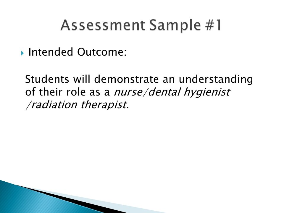  Intended Outcome: Students will demonstrate an understanding of their role as a nurse/dental hygienist /radiation therapist.