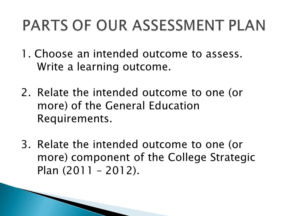 1. Choose an intended outcome to assess. Write a learning outcome. 2.Relate the intended outcome to one (or more) of the General Education Requirement