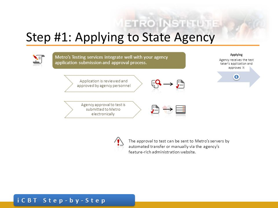 Step #2: Scheduling the Appointment iCBT Step-by-Step Scheduling The test taker calls Metro Institute to schedule their agency approved test(s) 2 Convenience is our priority.