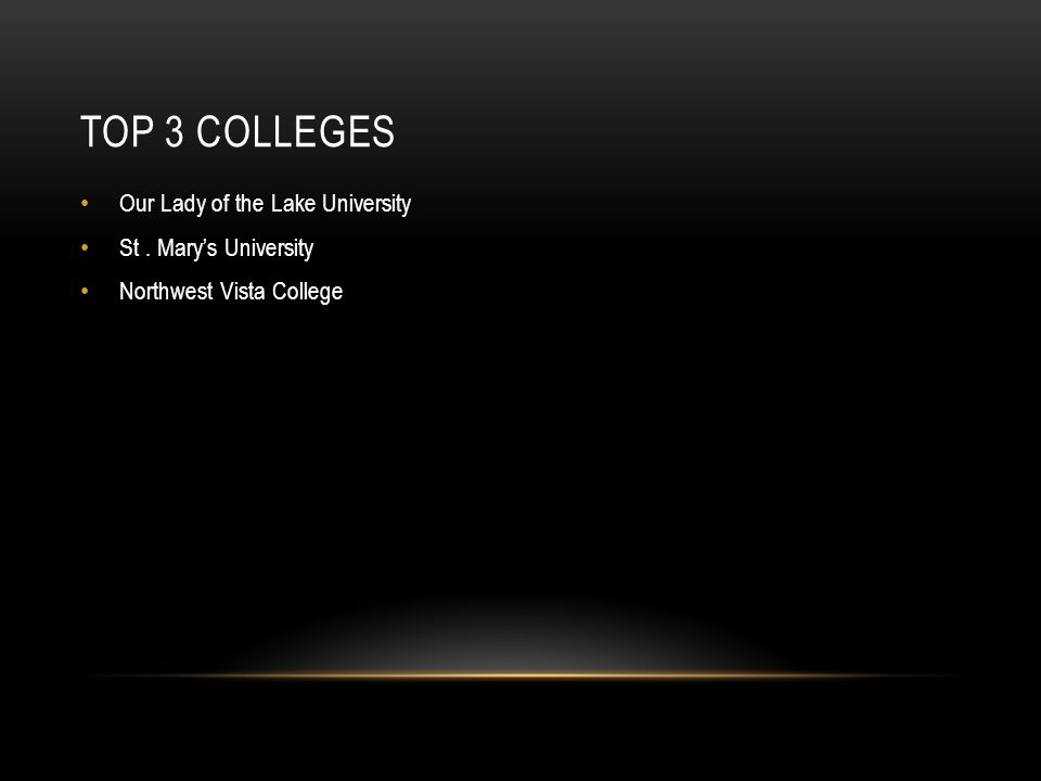 TOP 3 COLLEGES Our Lady of the Lake University St. Mary's University Northwest Vista College