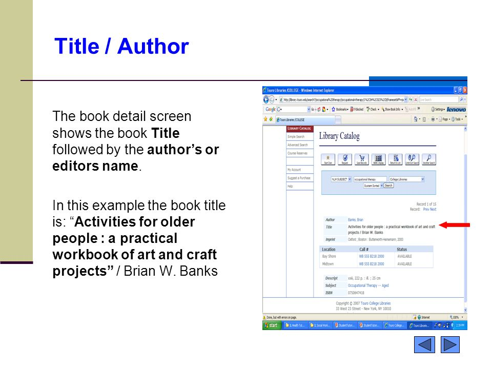 """Title / Author The book detail screen shows the book Title followed by the author's or editors name. In this example the book title is: """"Activities fo"""