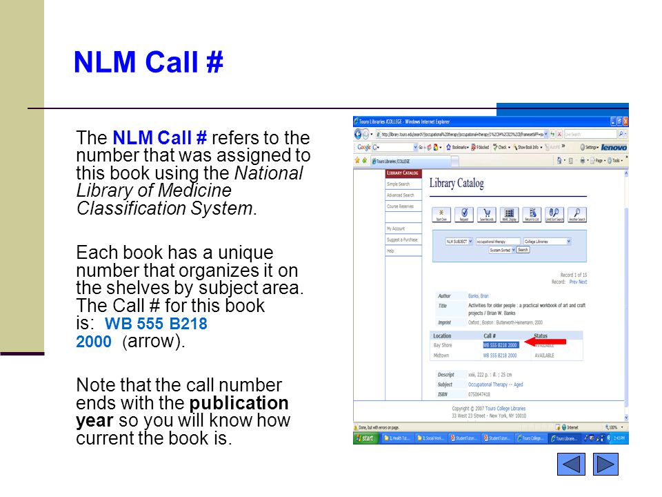 NLM Call # The NLM Call # refers to the number that was assigned to this book using the National Library of Medicine Classification System.