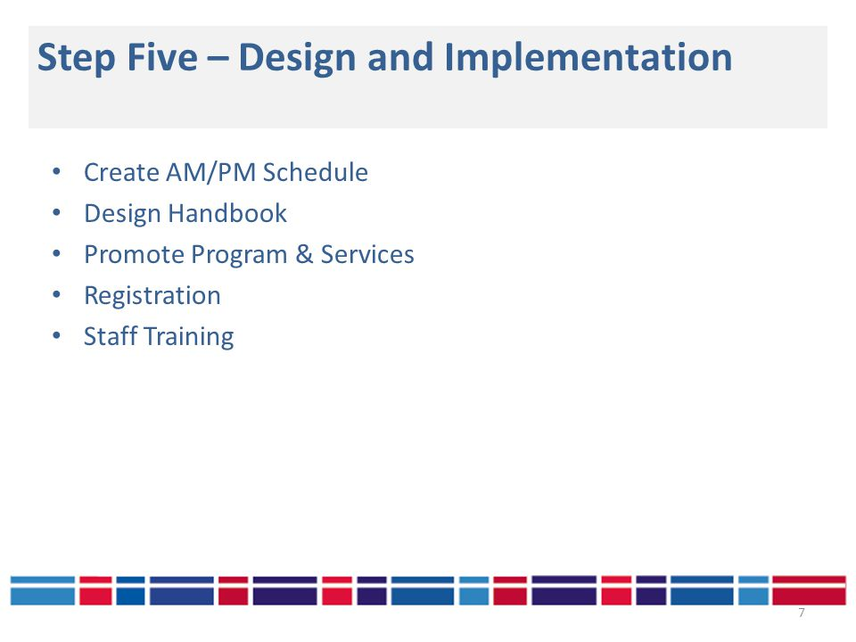 Step Five – Design and Implementation 7 Create AM/PM Schedule Design Handbook Promote Program & Services Registration Staff Training