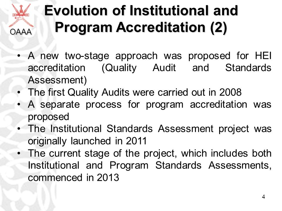 5 HEI QA Processes HEI Accreditation Stage2:Standards Assessment HEI Accreditation Stage1:Quality Audit HEI Standards Reassessment Appeal HEI Accreditation Terminated First cycle commenced 2008 HEI Accreditation Certificate Met HEI Licensure 4 years ≤4 years Process Document Start/End KEY Not met 1-2 years on Probation OAAA