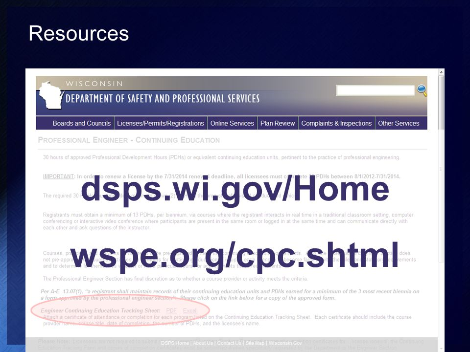 Resources dsps.wi.gov/Home wspe.org/cpc.shtml