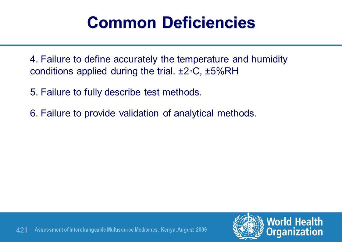 Assessment of Interchangeable Multisource Medicines, Kenya, August 2009 42 | Common Deficiencies 4.