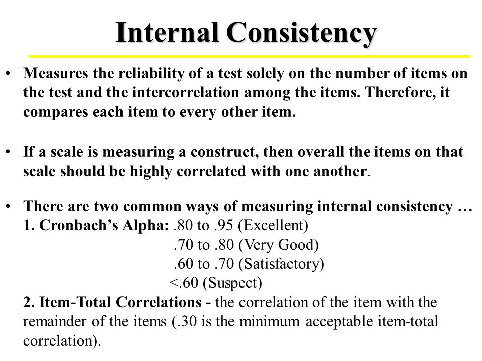 Generalizability Theory (cont.) If feasible, it is a more thorough procedure for identifying the error component that may enter scores.