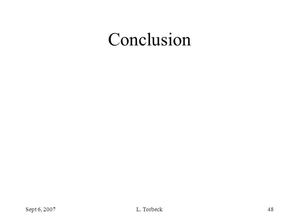 Sept 6, 2007L. Torbeck48 Conclusion