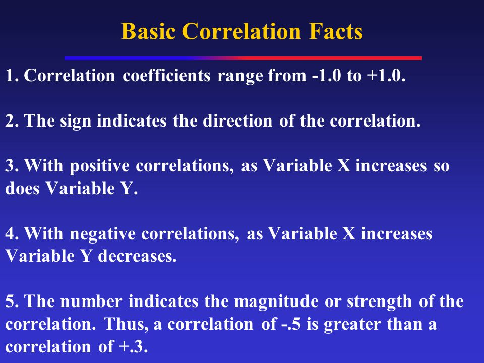 Basic Correlation Facts 1. Correlation coefficients range from -1.0 to