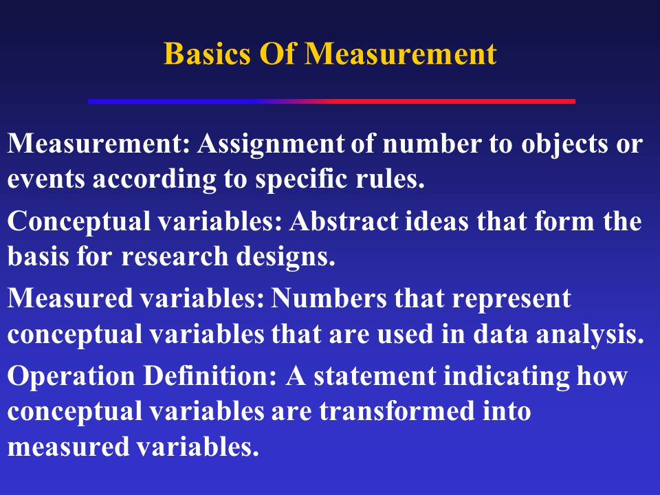 Basics Of Measurement Measurement: Assignment of number to objects or events according to specific rules.