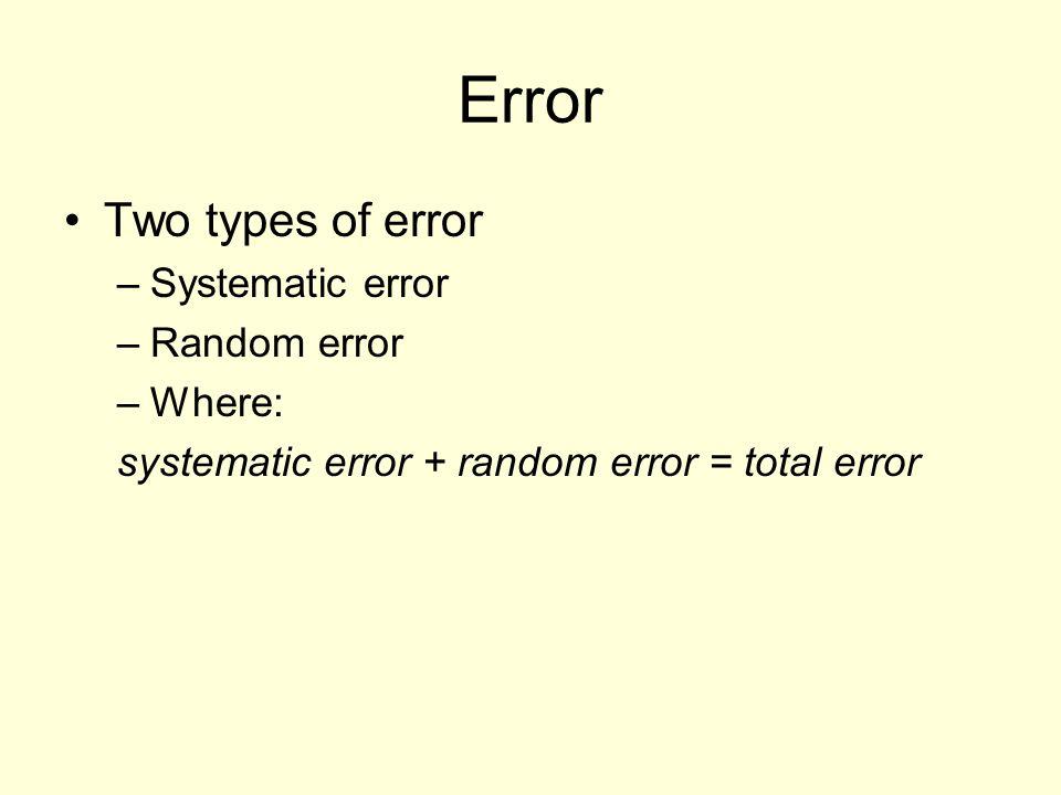 Error Two types of error –Systematic error –Random error –Where: systematic error + random error = total error