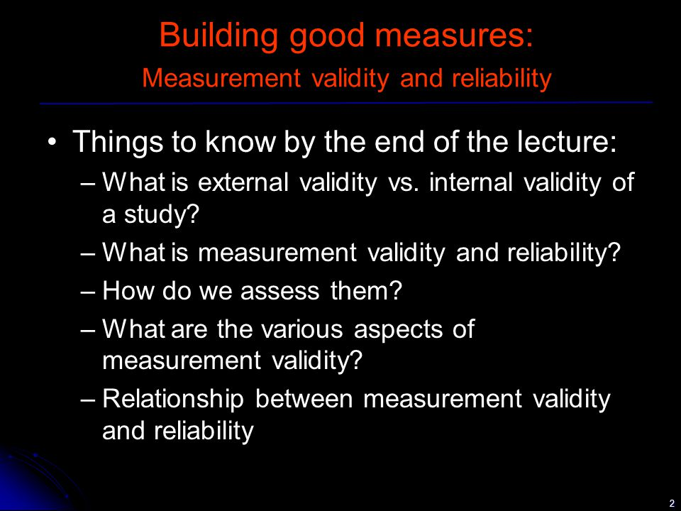 13 Validity - concurrent validity Concurrent validity –how well a measurement instrument compares with a previously validated one –How to assess concurrent validity.