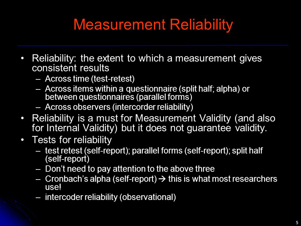 16 Validity - construct validity To assess construct validity –One solution is the known groups method theory is used to generate/discover 2 groups of subjects, one group with high level of construct, another with low level of the construct measurement instrument in question administered to both groups results compared if instrument has construct validity, should clearly tell both groups apart Example –Create low vs high anxiety groups  Measure  Compare –Check theoretical relationships with other variables