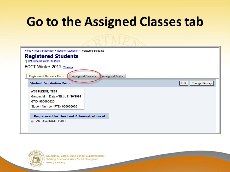 Go to the Assigned Classes tab