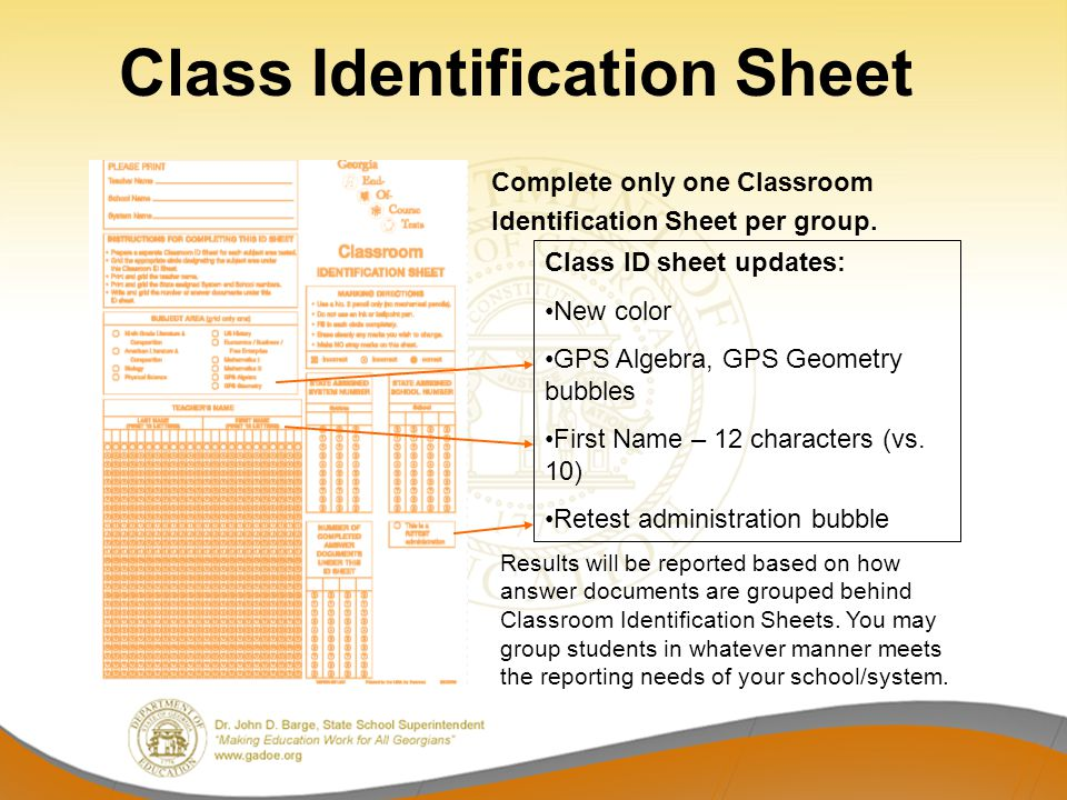 Class Identification Sheet Complete only one Classroom Identification Sheet per group.