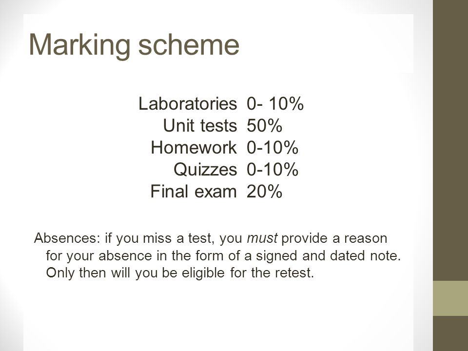 Marking scheme Absences: if you miss a test, you must provide a reason for your absence in the form of a signed and dated note.