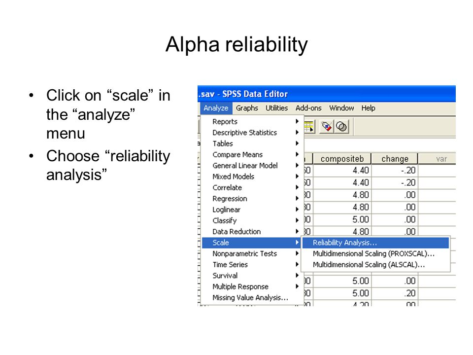 "Alpha reliability Click on ""scale"" in the ""analyze"" menu Choose ""reliability analysis"""